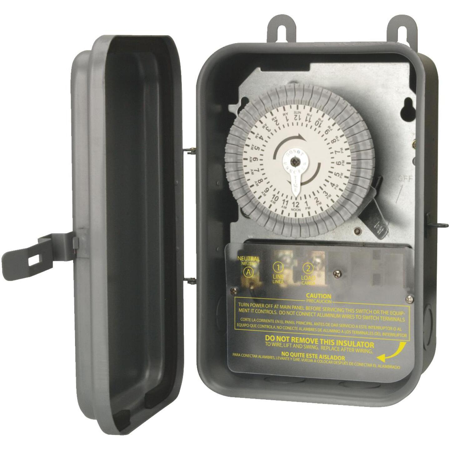 Woods Wire 40A 120VAC Gray SPST Outdoor Timer Image 1