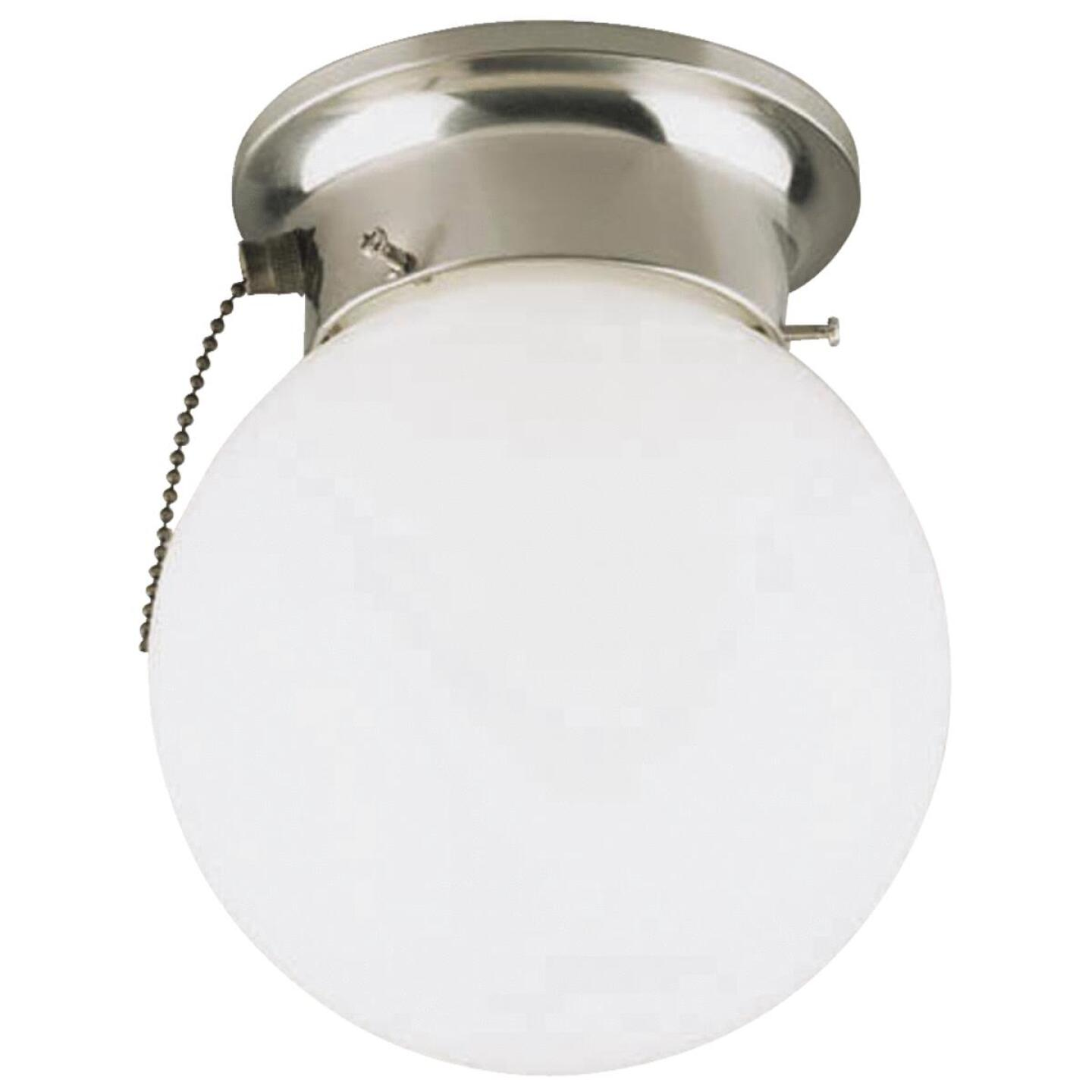 Home Impressions 6 In. Brushed Nickel Incandescent Flush Mount Ceiling Light Fixture with Pull Chain Image 1