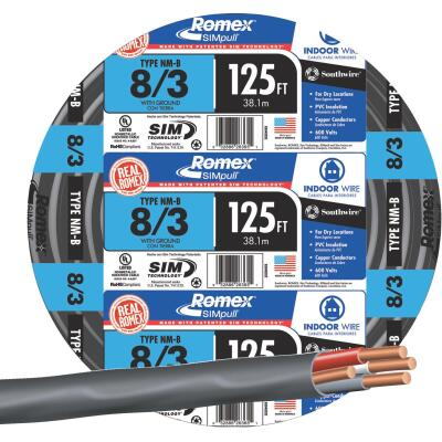 Romex 125 Ft. 8-3 Stranded Black NMW/G Wire