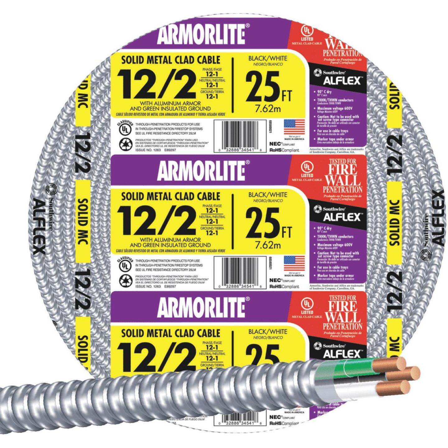 Southwire 25 Ft. 12/2 MC Armored Cable Image 1