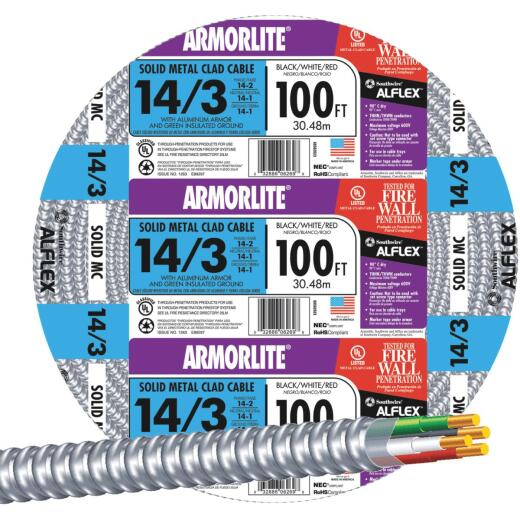 Southwire 100 Ft. 14/3 MC Armored Cable