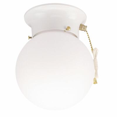 Home Impressions 6 In. White Incandescent Flush Mount Ceiling Light Fixture with Pull Chain
