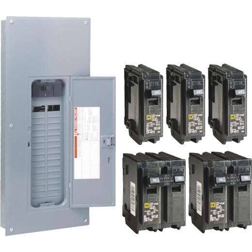 Square D Homeline 200A 30-Space 60-Circuit Indoor Value Pack Main Breaker Plug-on Neutral Load Center