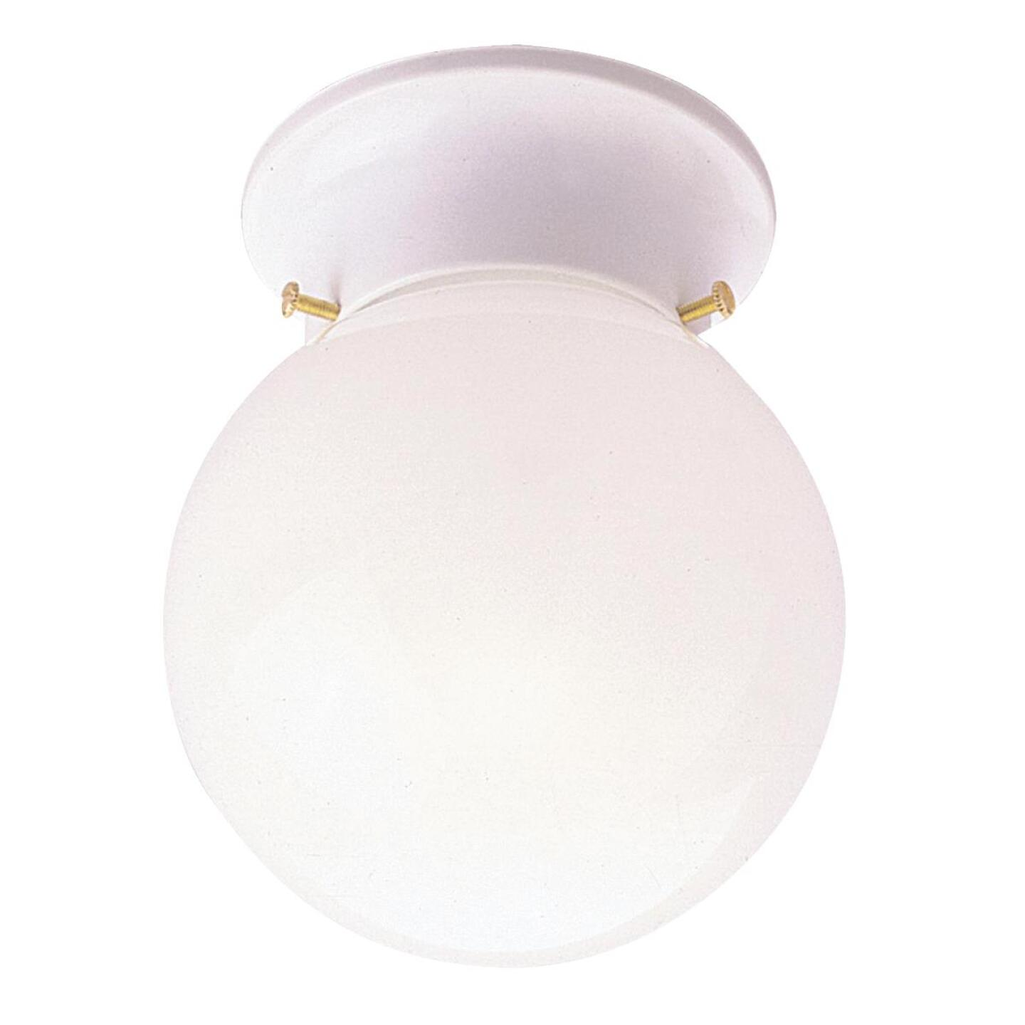 Home Impressions 6 In. White Incandescent Flush Mount Ceiling Light Fixture Image 1