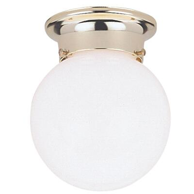 Home Impressions 6 In. Polished Brass Incandescent Flush Mount Ceiling Light Fixture