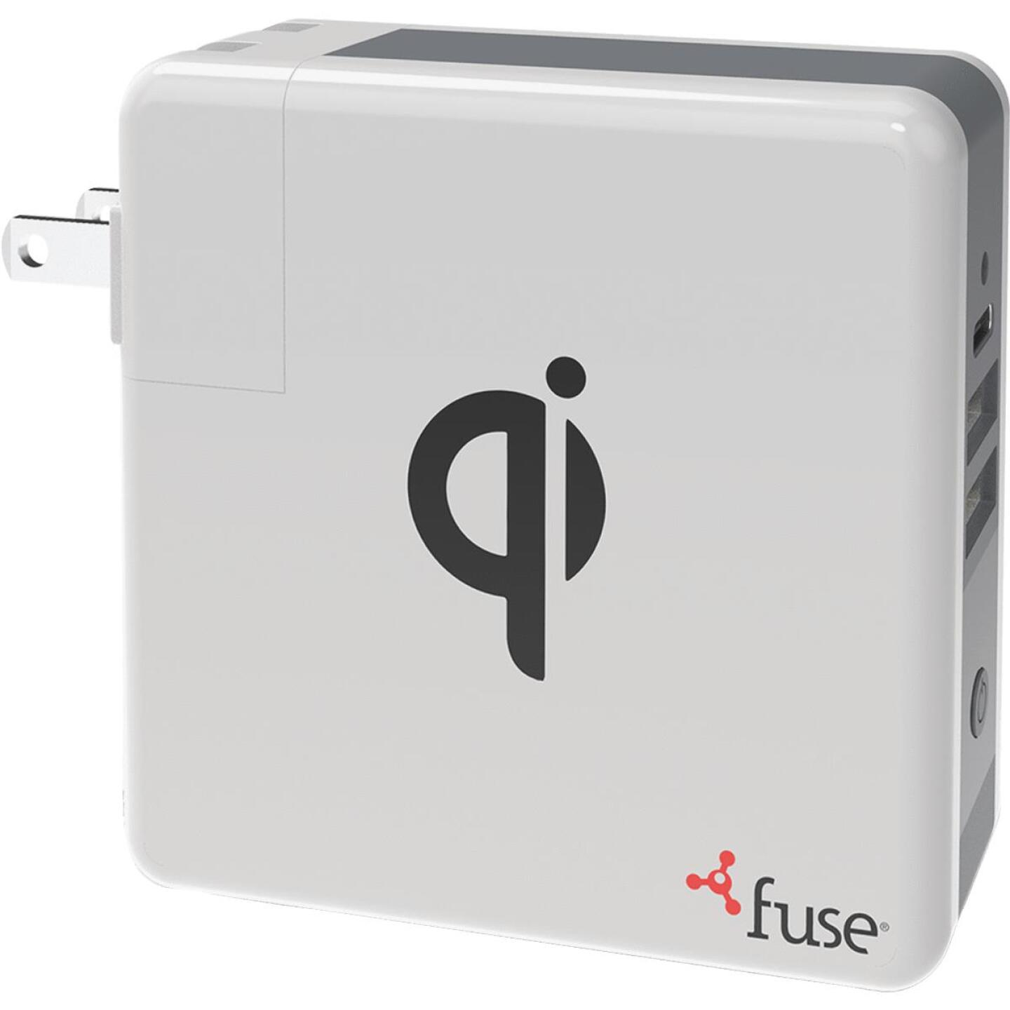 Fuse Dual USB & Micro USB White & Gray 3-In-1 Portable Qi Wireless Charger Image 1