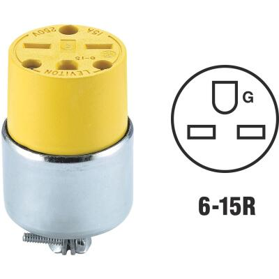 Leviton 15A 250V 3-Wire 2-Pole Armored Cord Connector