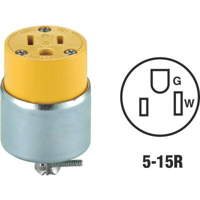 Leviton 15A 125V 3-Wire 2-Pole Armored Cord Connector