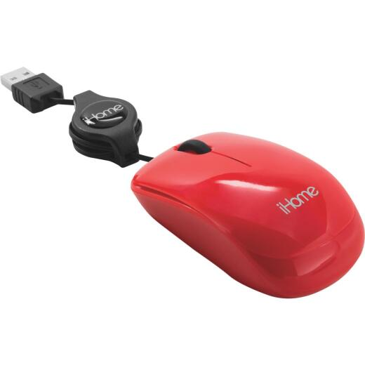 iHome Red Retractable Cord USB Travel Mouse