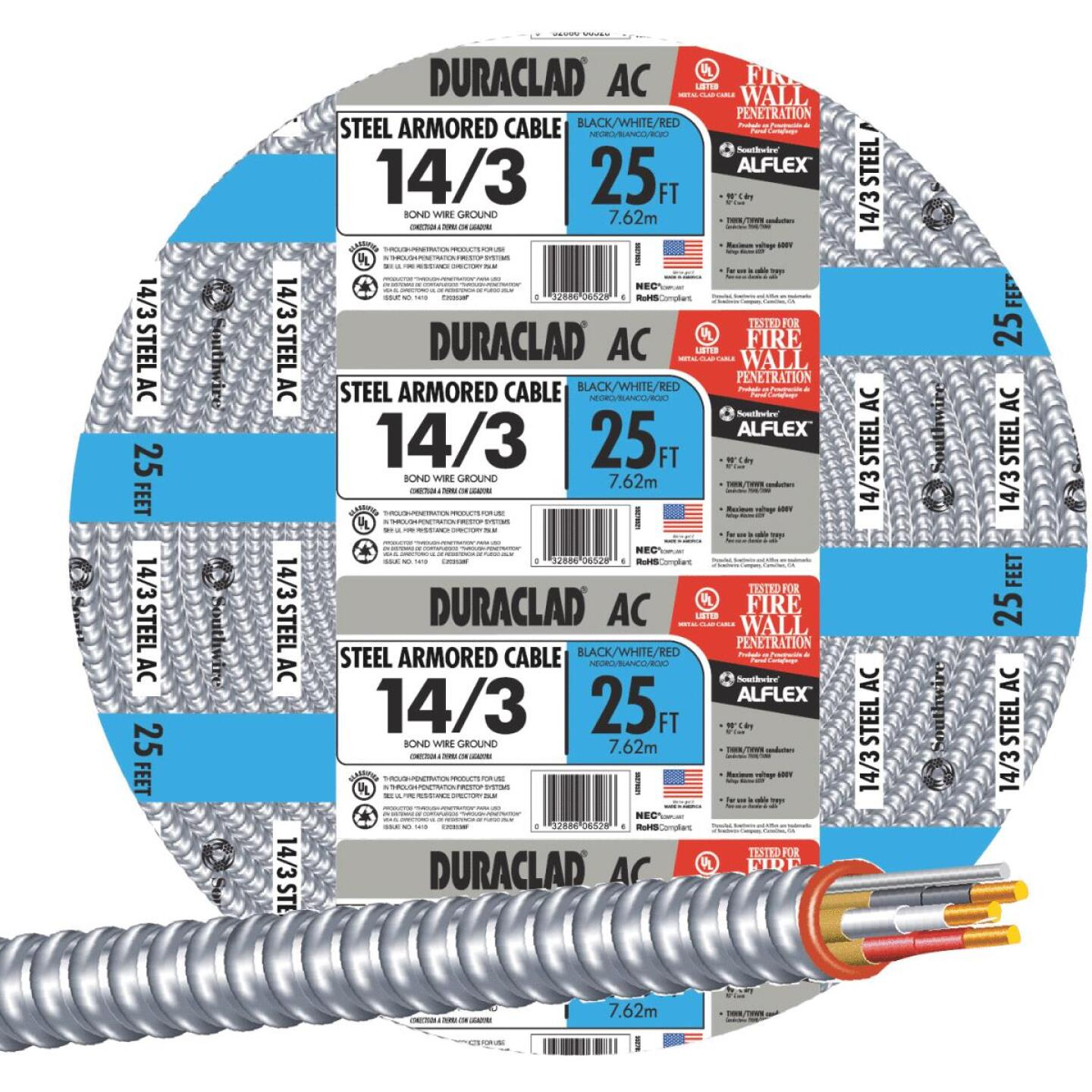 Southwire 25 Ft. 14/3 AC Armored Cable Image 1