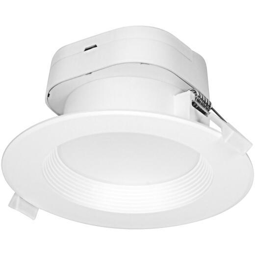 Satco 4 In. Direct Wired IC Rated White 3000K LED Recessed Light Kit