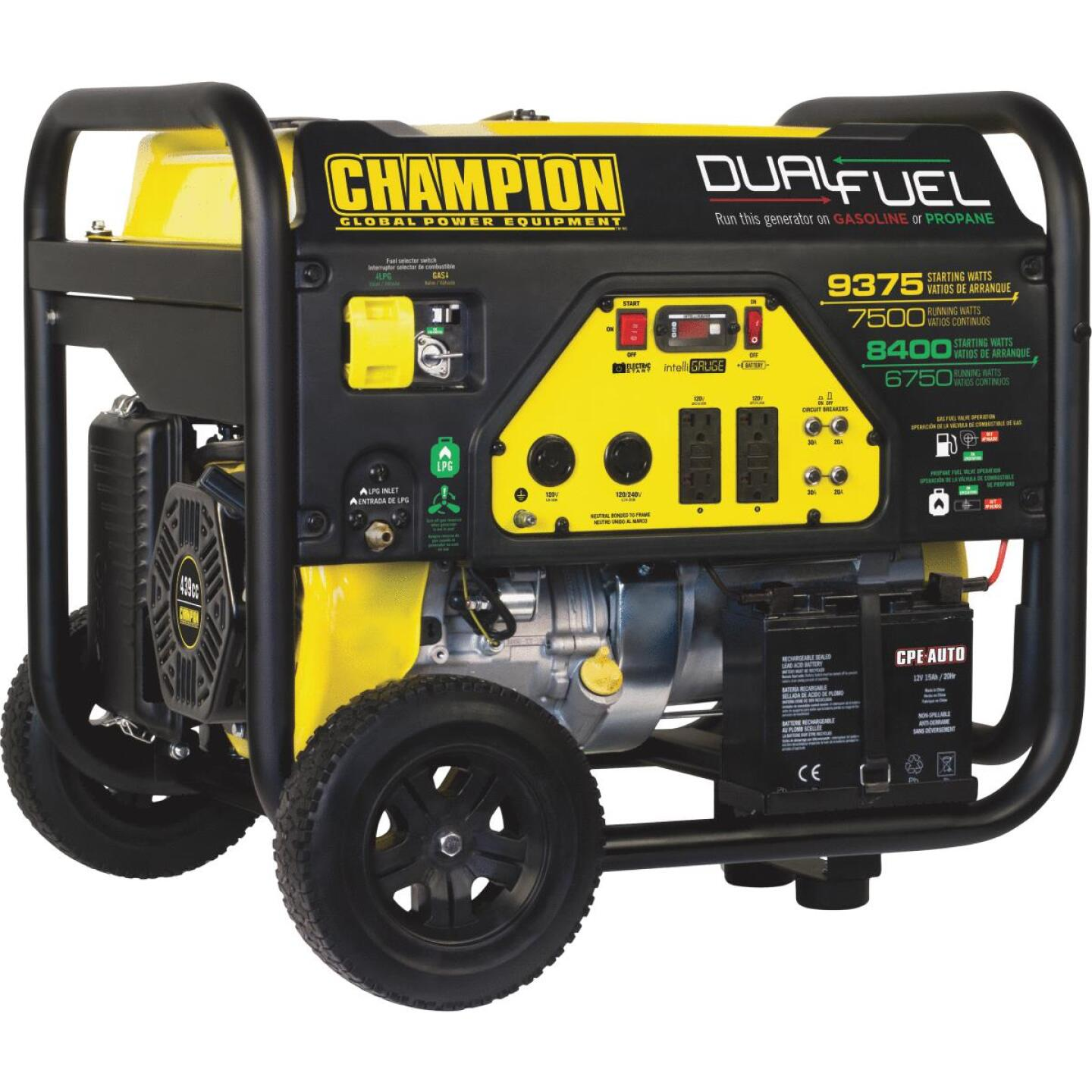 Champion 7500W Dual Fuel Portable Generator with Electric Start (California Compliant) Image 1