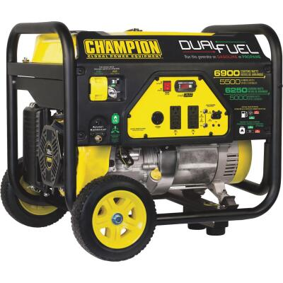 Champion 5500W Dual Fuel Portable Generator with Wheel Kit (California Compliant)