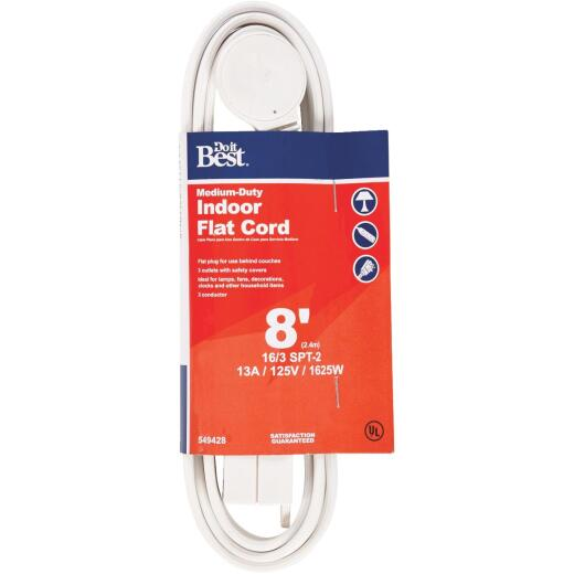 Do it Best 8 Ft. 16/3 Flat Plug White Extension Cord