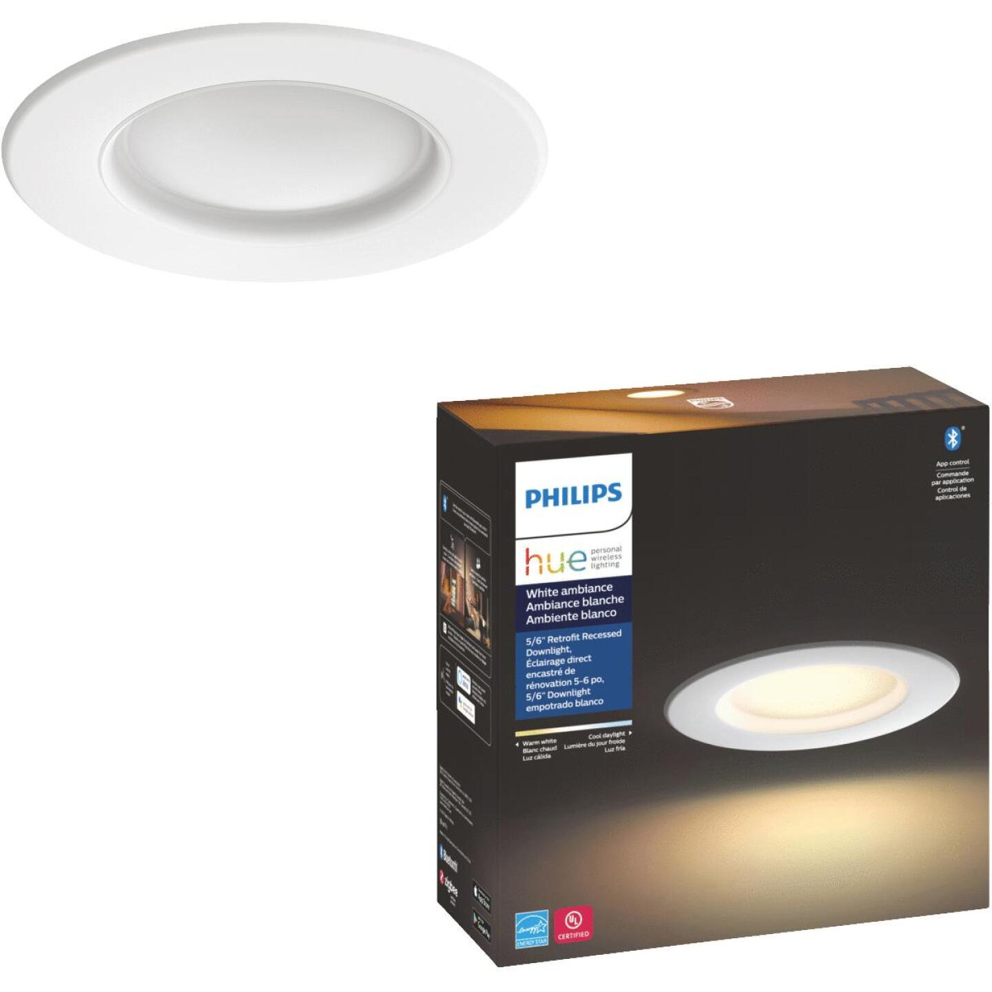 Philips Hue White Ambiance 5 In./6 In. Retrofit White LED Recessed Light Kit Image 1