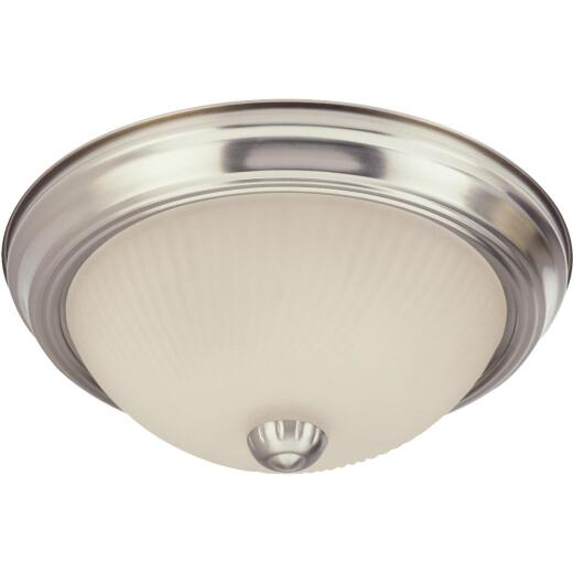 Home Impressions 11 In. Brushed Nickel Incandescent Flush Mount Ceiling Light Fixture