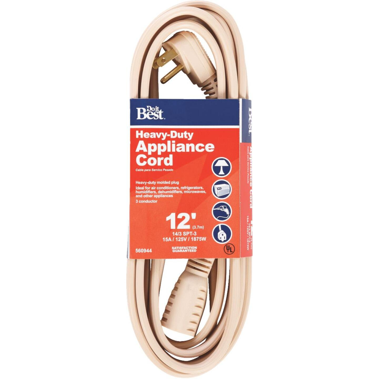 Do it Best 12 Ft. 14/3 15A Heavy-Duty Appliance Cord Image 1