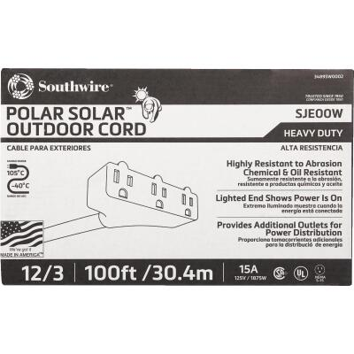 Coleman Cable Polar Solar 100 Ft. 12/3 Cold Weather 3-Outlet Extension Cord