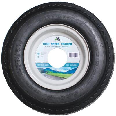 Marastar 4.80-8 In. Load Range B 4-Lug Trailer Tire and Wheel