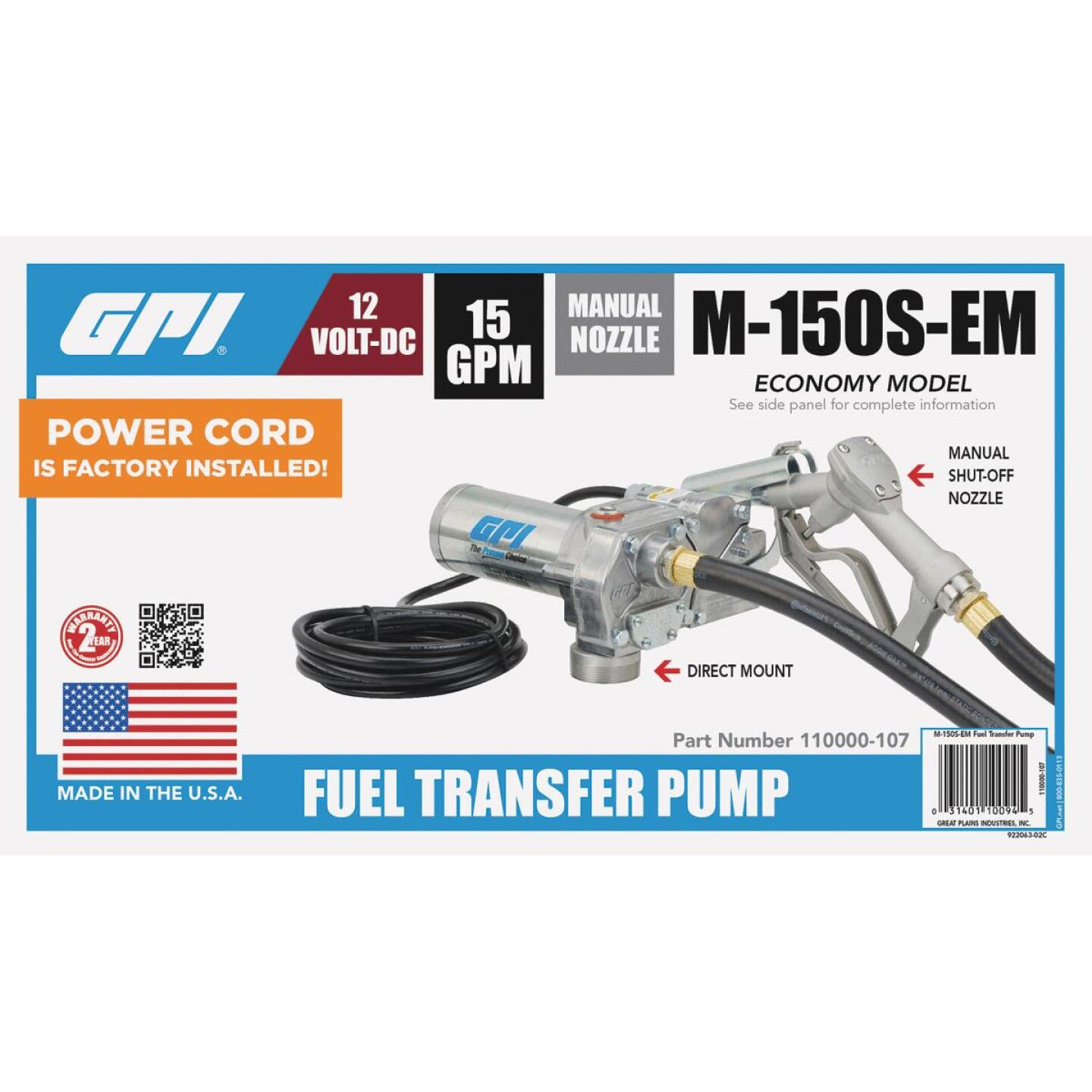 GPI 12V DC, 15 GPM Manual Economy Fuel Transfer Pump Image 2