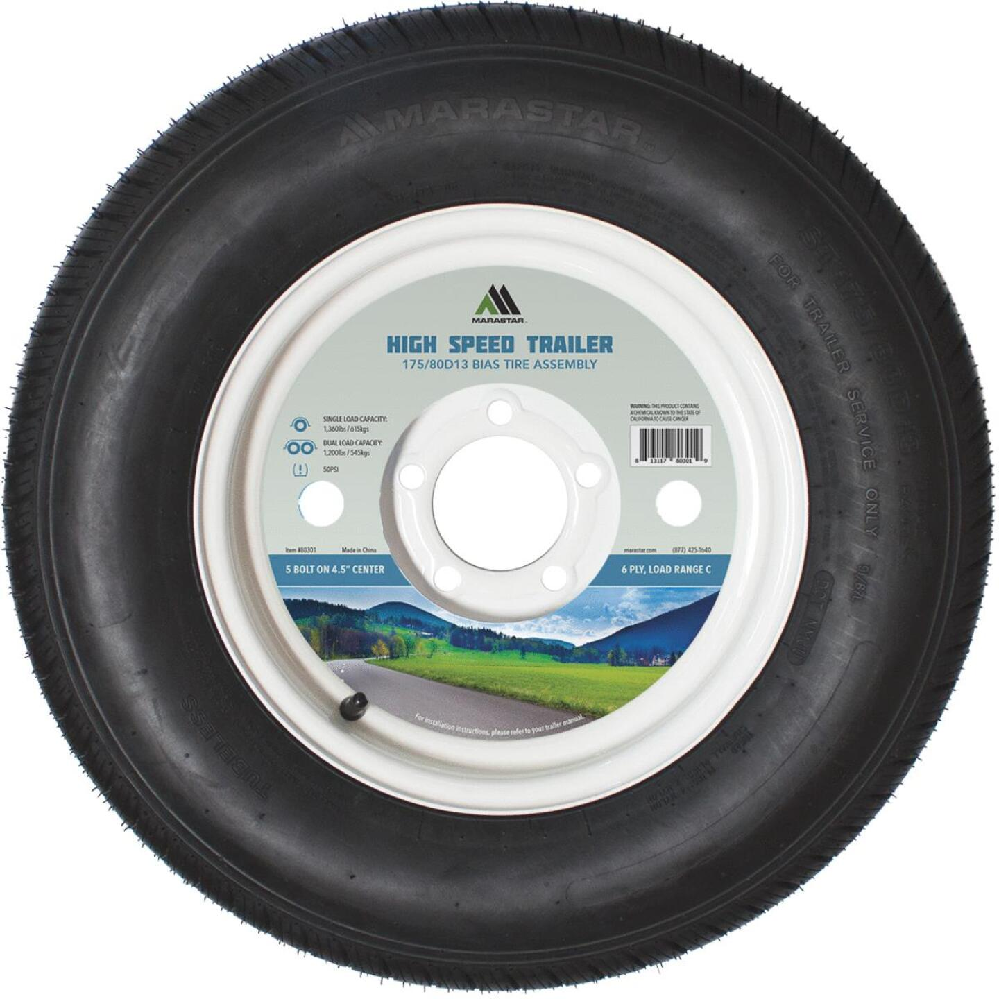 Marastar 175/80D13 Load Range C 5-Lug Trailer Tire and Wheel Image 1