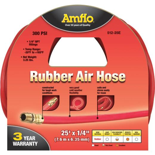 Amflo 1/4 In. x 25 Ft. Rubber Air Hose