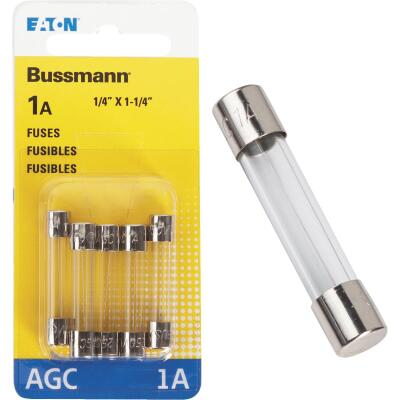 Bussmann 1-Amp 250-Volt AGC Glass Tube Automotive Fuse (5-Pack)