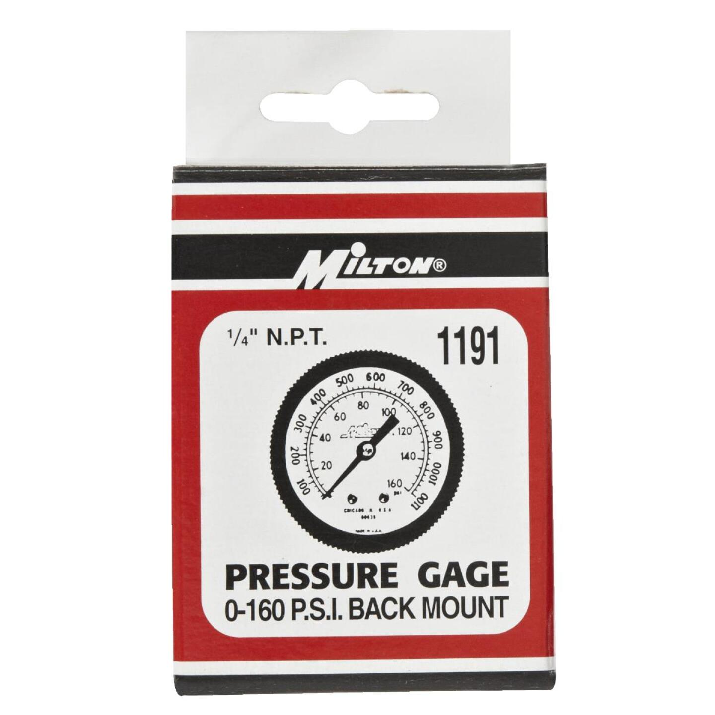 Milton 1/4 In. NPT Back Mount Mini Pressure Gauge Image 2