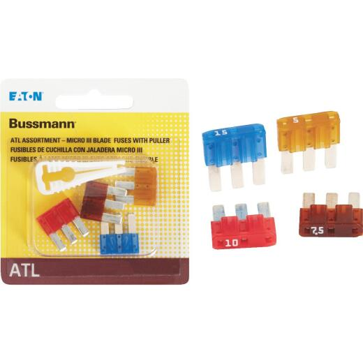 Bussmann ATL (Micro III) Fuse Assortment with Fuse Puller (4-Piece)