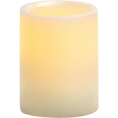 Inglow 4 In. H. x 3 In. Dia. Cream Wax Pillar Flameless Candle