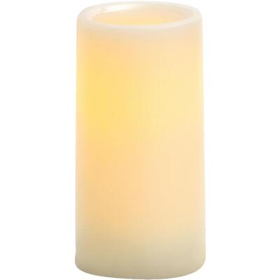 Inglow 6 In. H. x 3 In. Dia. Cream Wax Pillar Flameless Candle