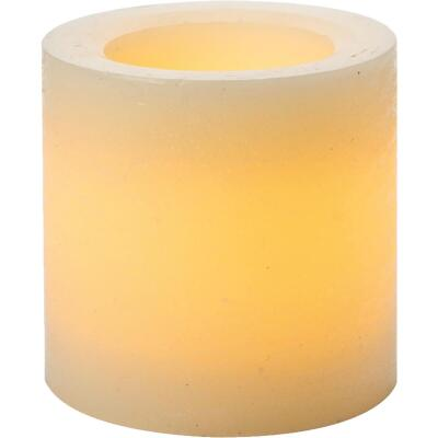 Inglow 4 In. H. x 4 In. Dia. Cream Rustic Wax Pillar Flameless Candle