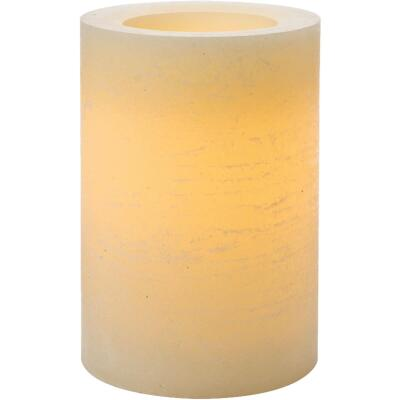 Inglow 6 In. H. x 4 In. Dia. Cream Rustic Wax Pillar Flameless Candle