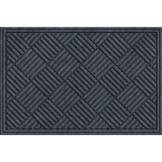 Apache Textures Smoke 24 In. x 36 In. Carpet/Recycled Rubber Door Mat