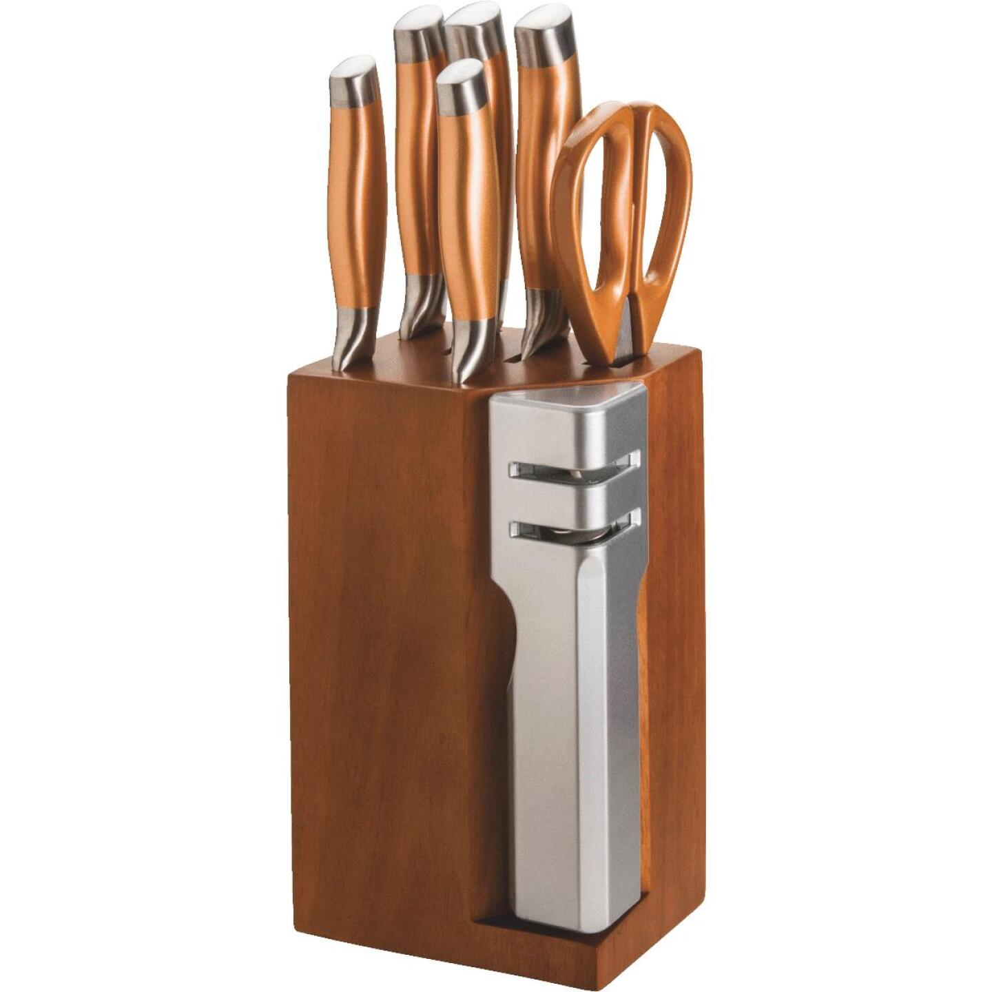 New England Cutlery Stainless Steel Blade Knife Set with Block (7-Piece) Image 1