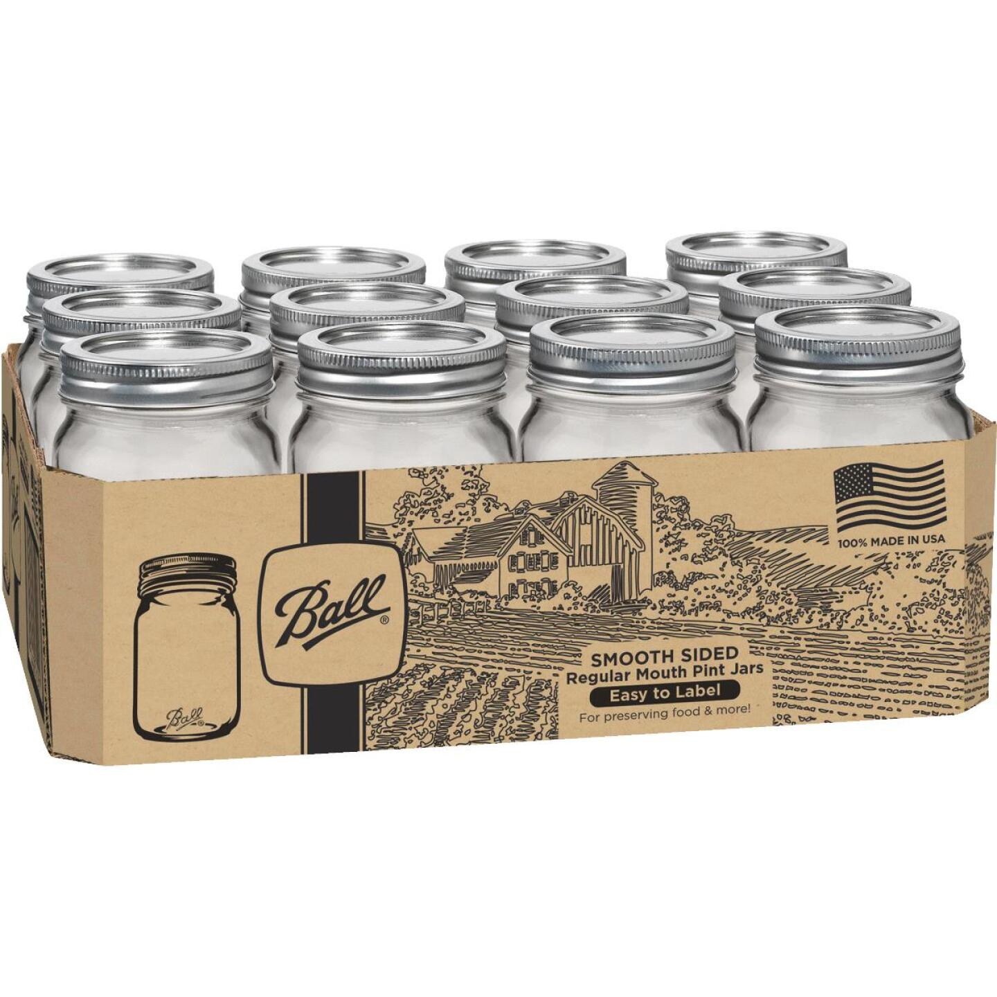 Ball Pint Regular Mouth Smooth-Sided Silver Lid Canning Jar (12-Count) Image 1