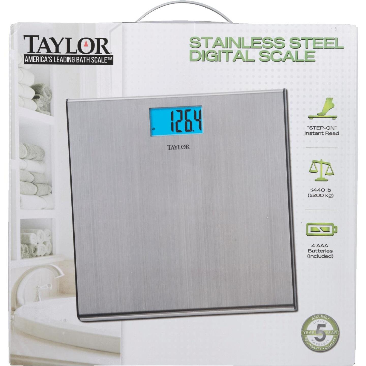 Taylor Digital 440 Lb. Stainless Steel Bath Scale, Silver Image 2