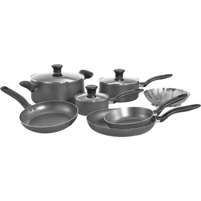 T-Fal Gray Non-Stick Aluminum Cookware Set (10-Piece)