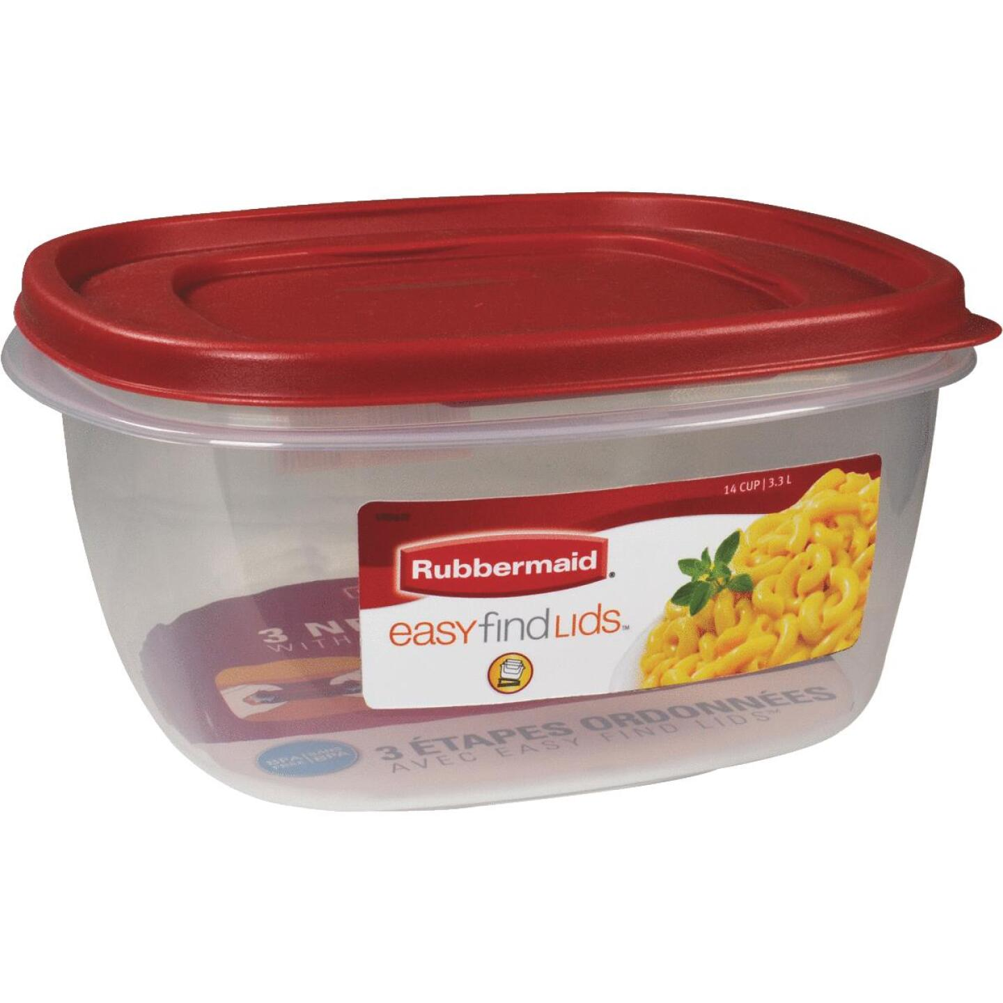 Rubbermaid Easy Find Lids 14 C. Clear Square Food Storage Container Image 1