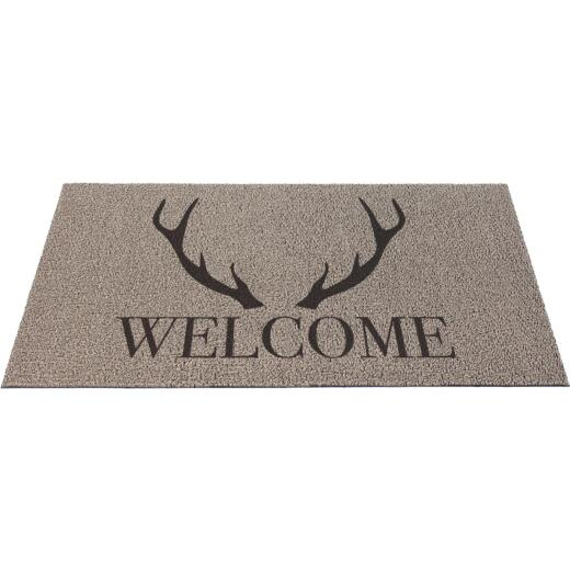 Americo Home 18 In. x 30 In. Gray Front Runner Antler Welcome Door Mat