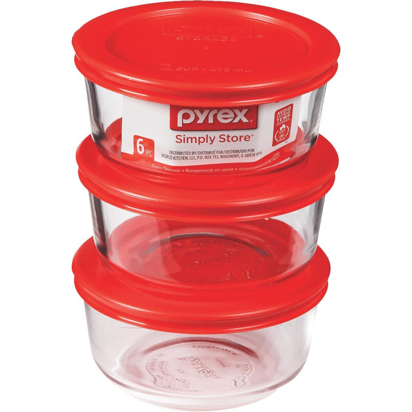 Pyrex Simply Store 2-Cup Glass Storage Container Set with Lids (6-Piece) Image 1