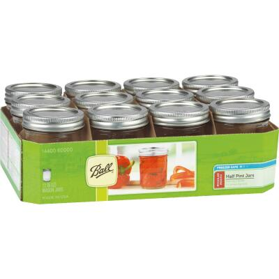Ball 1/2 Pint Regular Can-Or-Freeze Mason Canning Jar (12-Count)