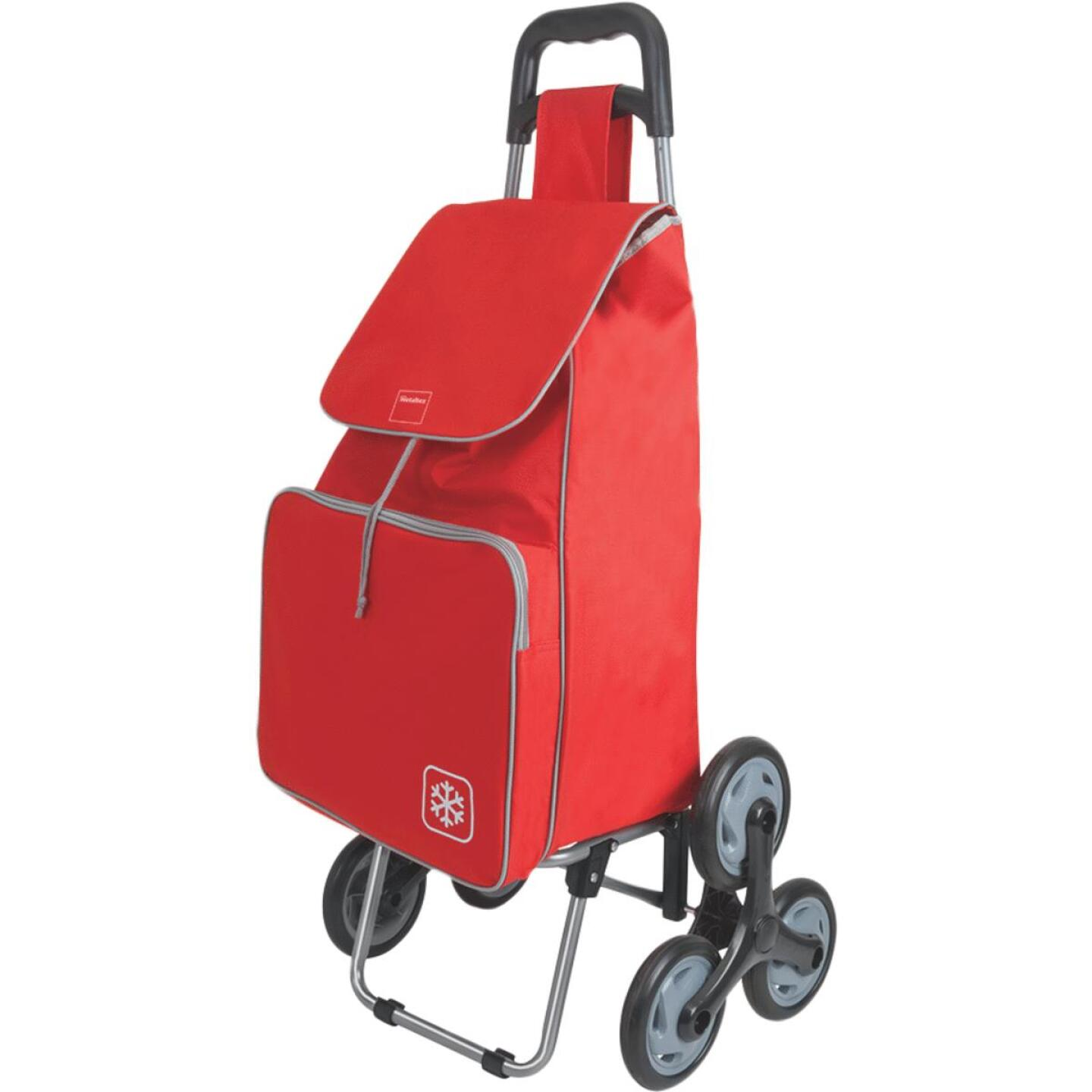 Metaltex Peony Red 14 In. x 39 In. x 11 In. Soft Sided Tote Stair Climbing Utility Cart Image 1