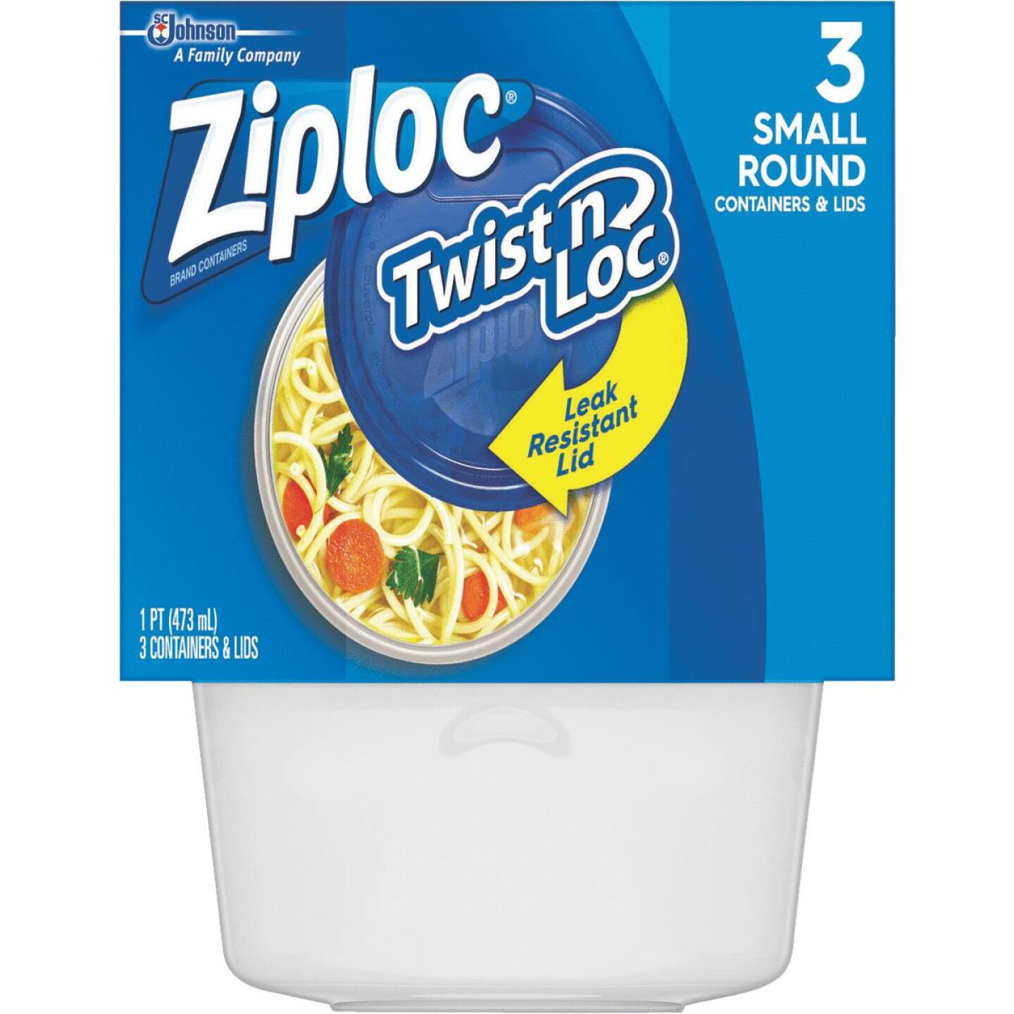 Ziploc Twist 'n Loc 1 Pt. Clear Round Food Storage Container with Lids (3-Pack) Image 1