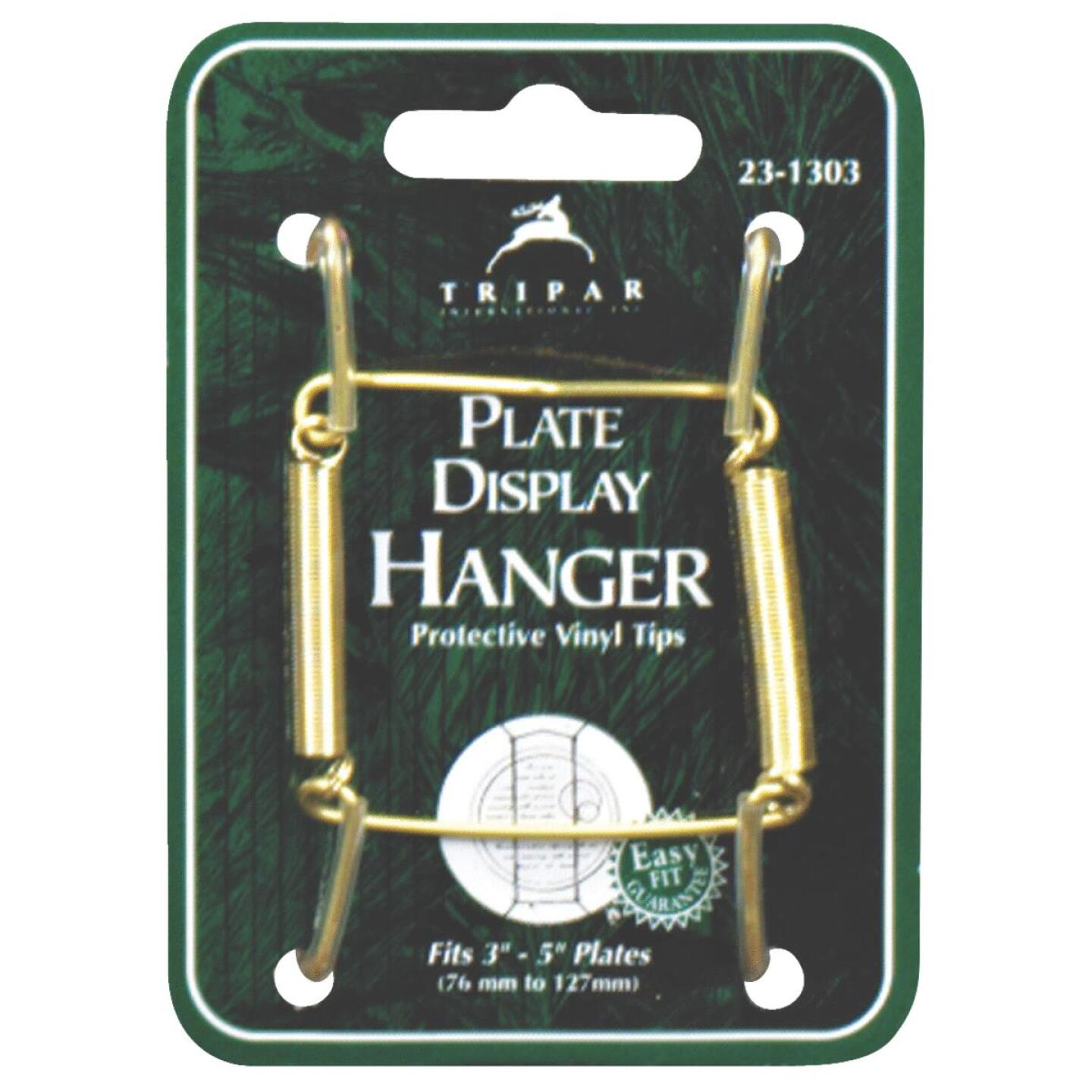Tripar 3 In. to 5 In. Brass Wire Plate Hanger Image 1