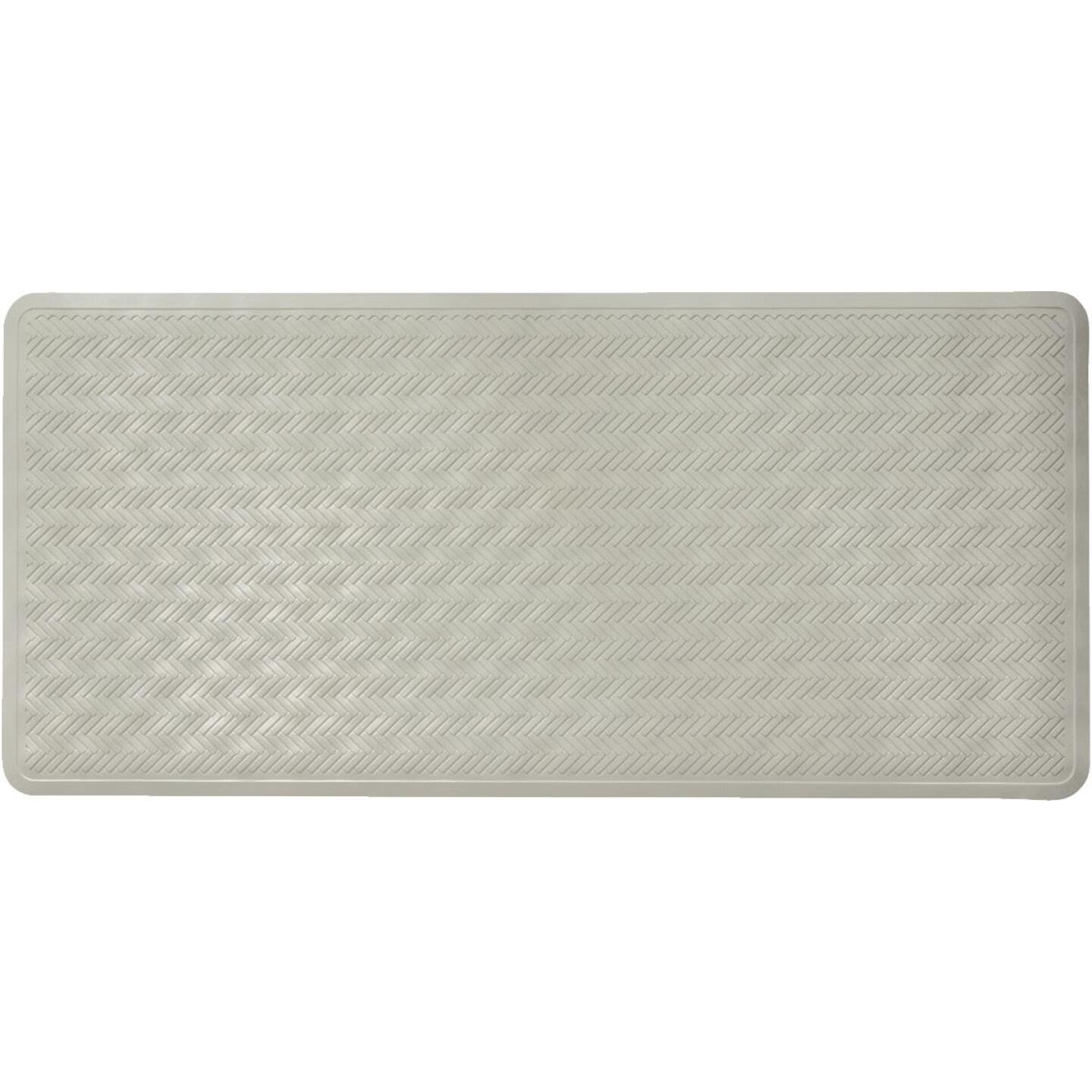 iDesign Chelsea 17 In. x 36 In. Gray Rubber Bath Mat Image 1