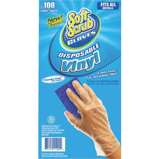 Soft Scrub 1 Size Fits All Vinyl Disposable Glove (100-Pack)