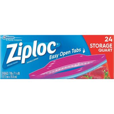 Ziploc 1 Qt. Double Zipper Food Storage Bag (24 Count)