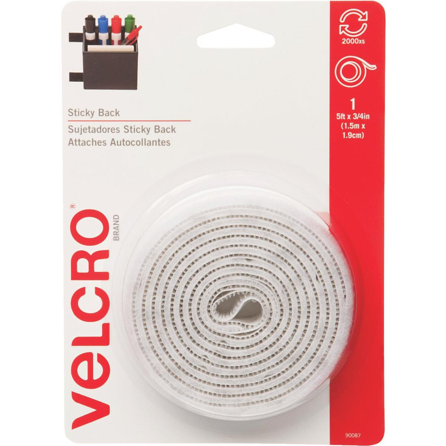 VELCRO Brand 3/4 In. x 5 Ft. White Sticky Back Reclosable Hook & Loop Roll Image 1