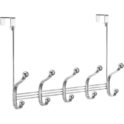 iDesign York Lyra Over-The-Door Chrome 5-Hook Rail